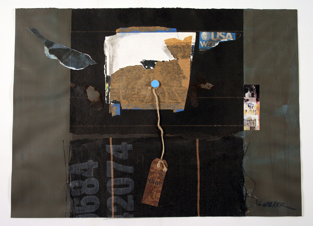 Larry Walker, Blue Ticket#4.2074, 2013, acrylic/mixed materials on watercolor paper, 27 1/2 x 35 1/2 inches