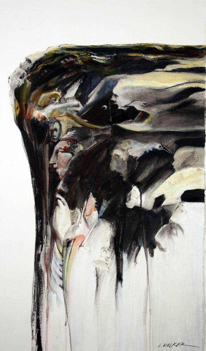 Larry Walker, Cliff Structure Spirit Voices & Other Secrets, 2013, charcoal & Liquitex T.G., 43 1/2 x 28 inches