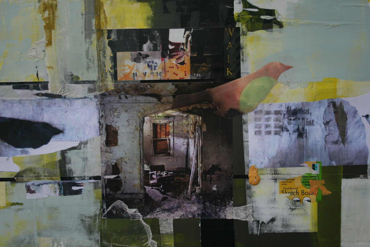 Larry Walker, Flight Through Yesterday, 2015, collage with acrylic products, 29 x 37 inches