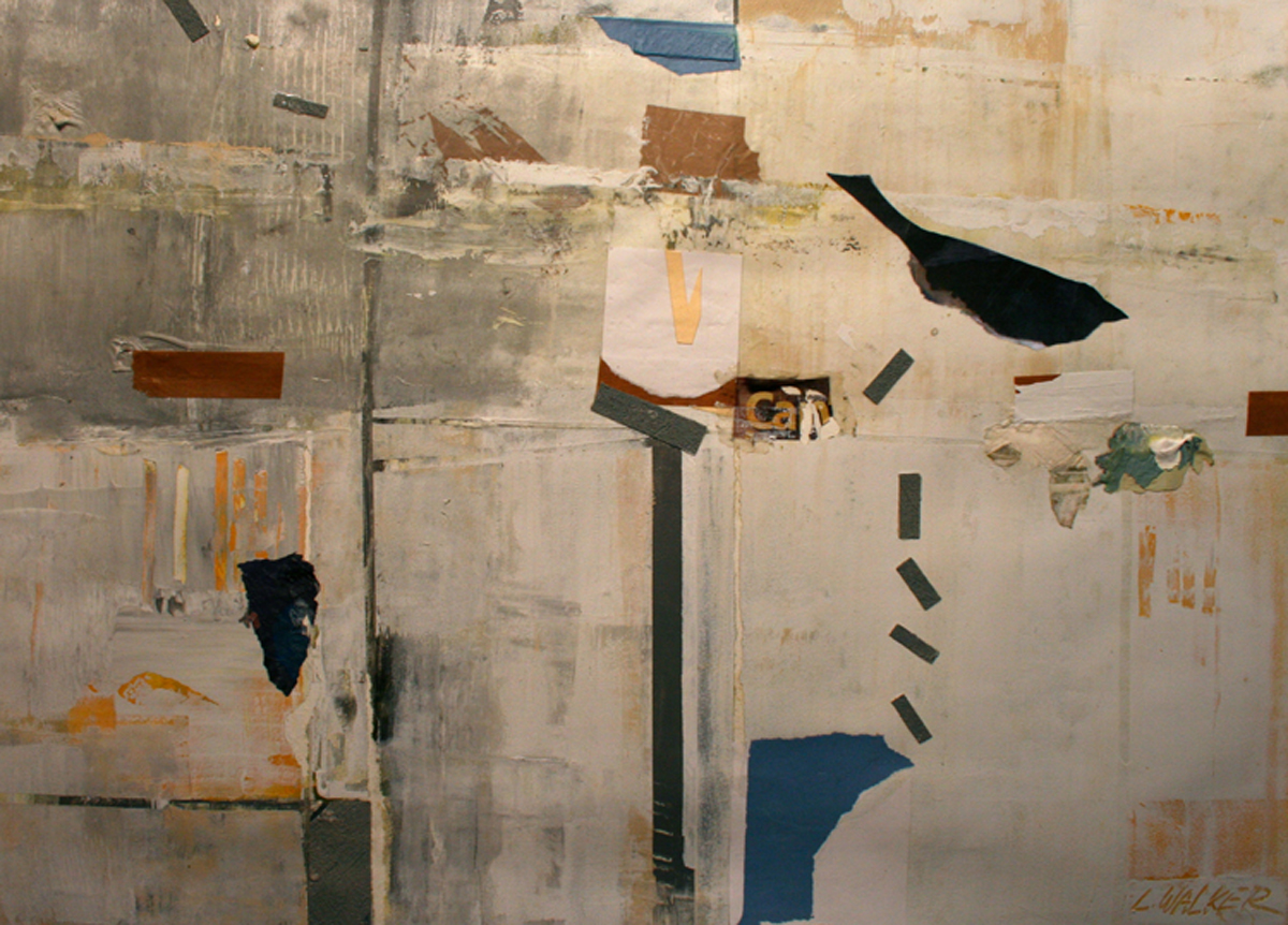 Larry Walker, Flight, 2013, acrylic, plastic, collage over lithograph, 28 x 36 inches