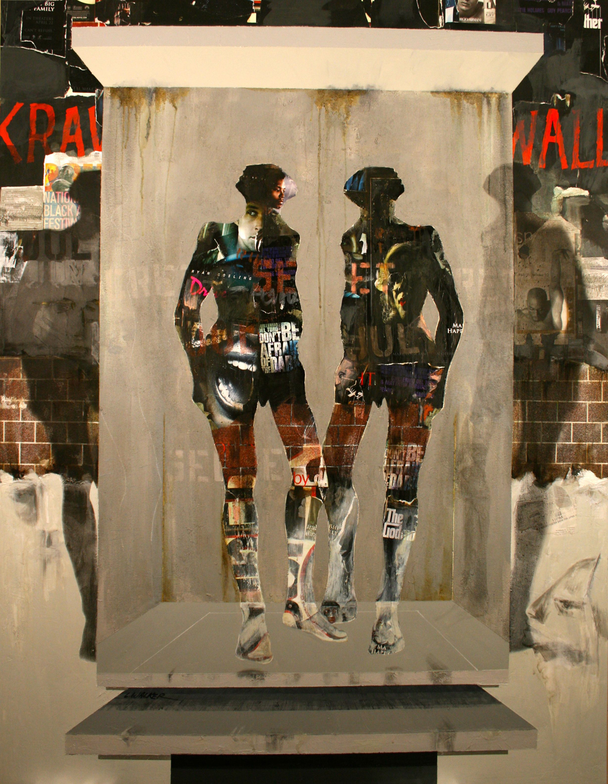 Larry Walker, Interior Exterior Portals, 2011, acrylic with collage elements, 78 x 60 inches