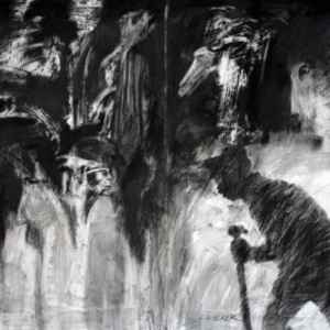 Larry Walker, Yea thou I Walk thru the valley-phase 2, 2010, charcoal and Liquitex T.G., 30 x 48 inches