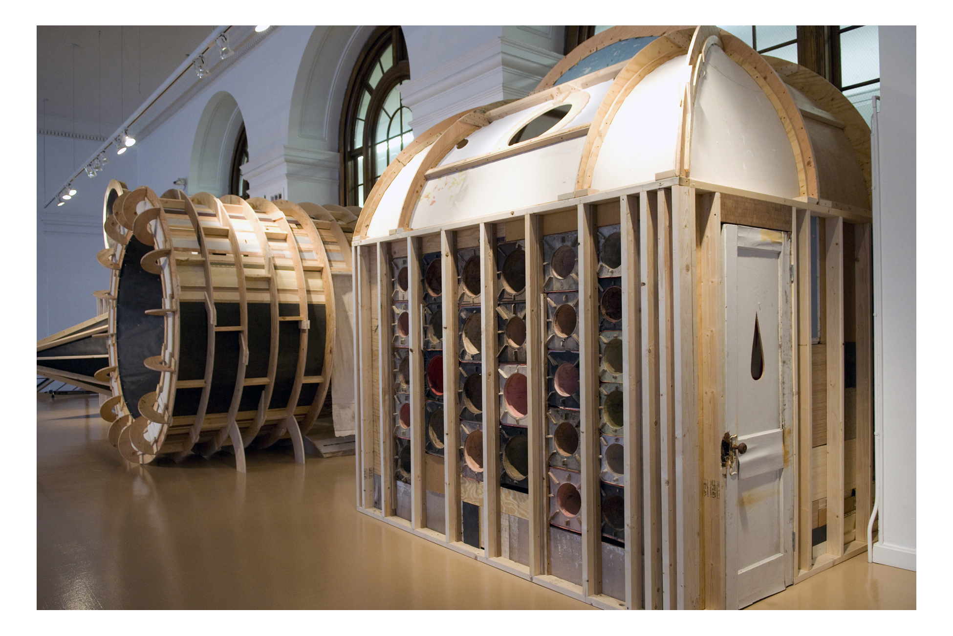 Juan Angel Chavez, Listening Chambers, 2010, found materials, each 12 x 12 x 12 feet