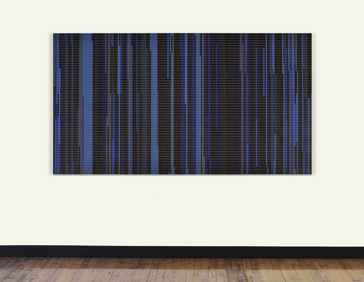 Marie Krane, Hours Seen, February, 2012 (looking North, from Yaddo, in 1.86-minute increments), 2014, acrylic and pencil on canvas, 42 x 84 inches