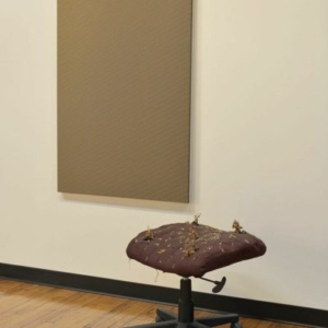 """Marie Krane, April Will , 2014, acrylic and pencil on canvas; modified chair, soil, basil plants, painting 51"""" x 34""""; stool about 30"""", variable height"""