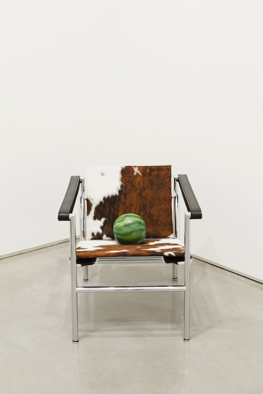 Margaret Lee, Watermelon (that you have been saving for), 2013, cowhide sling chair, plaster, and acrylic paint, variable