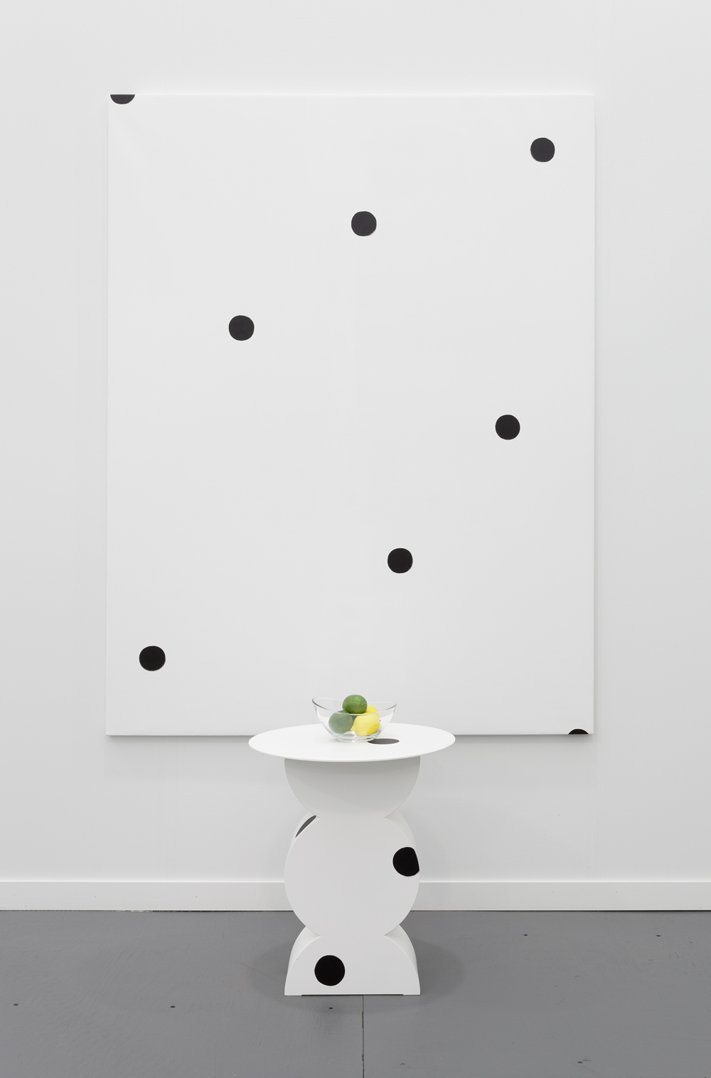 Margaret Lee, (Studio Simon Gavina Constantin) + Dot Painting + Lemons + Limes, 2014, MDF, oil paint, gesso, canvas, ceramic, acrylic paint, painting: 54 in x 72 inches, sculpture: 23.2 in x 18.9 in x 18.9 inches