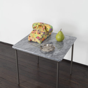 Margaret Lee, Table, Pear, Ashtray, and Phone, 2013, table, ashtray, phone parts, papier-mache, plaster and acrylic paint, variable