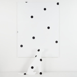 Margaret Lee, Dalmatian I + Dot Painting, 2014, MDF, oil paint, gesso, canvas, sculpture: 30 x 32 inches, painting: 54 x 72 inches