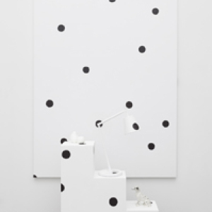 Margaret Lee, Dots (Dalmatian), 2013, oil, acrylic, linen, wood, found objects, plaster, painting: 90 x 60 inches, pedestal: 30 x 30 x 10 inches