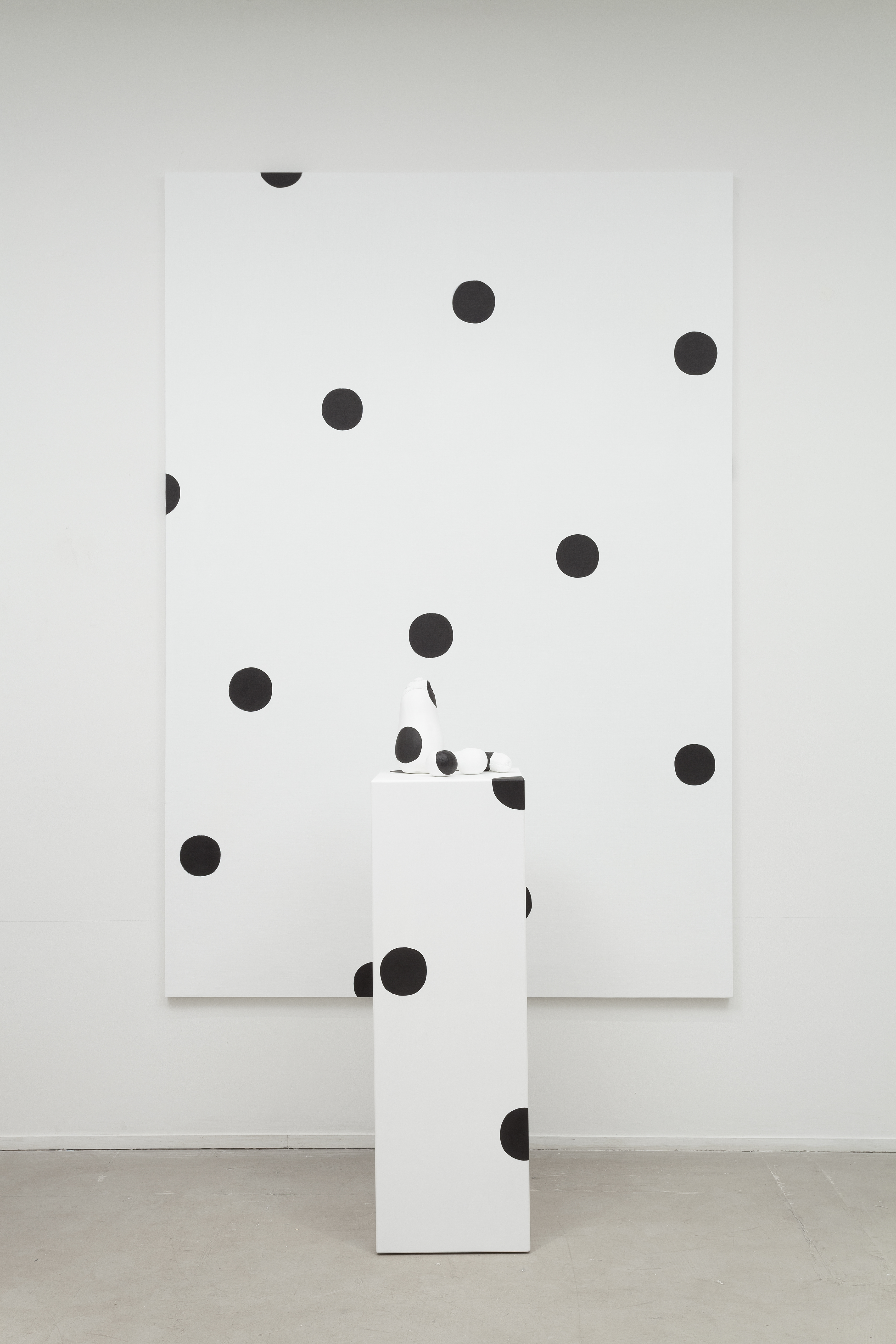 Margaret Lee, Dots!, 2013, oil on linen, oil on plaster, oil on wood, 72 x 96 x 21 inches