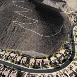 "Michael Light, City View hiking trail looking southeast, ""Sun City MacDonald Ranch"" development below, Henderson, Nevada; 2010"