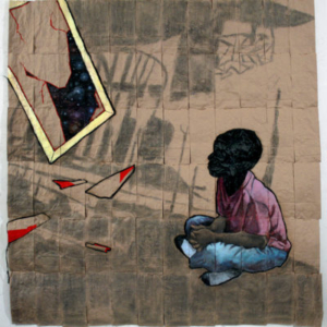 Nathaniel Donnet, Time Traveling, Mind Unraveling; Get Down, 2015, conte, graphite, acrylic paint, plastic, paper bags 60 x 60 inches