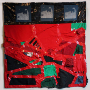 Nathaniel Donnet, Operation Sunshine, 2013, plastic, duct tape, clothing, canvas, 56 x 59 inches