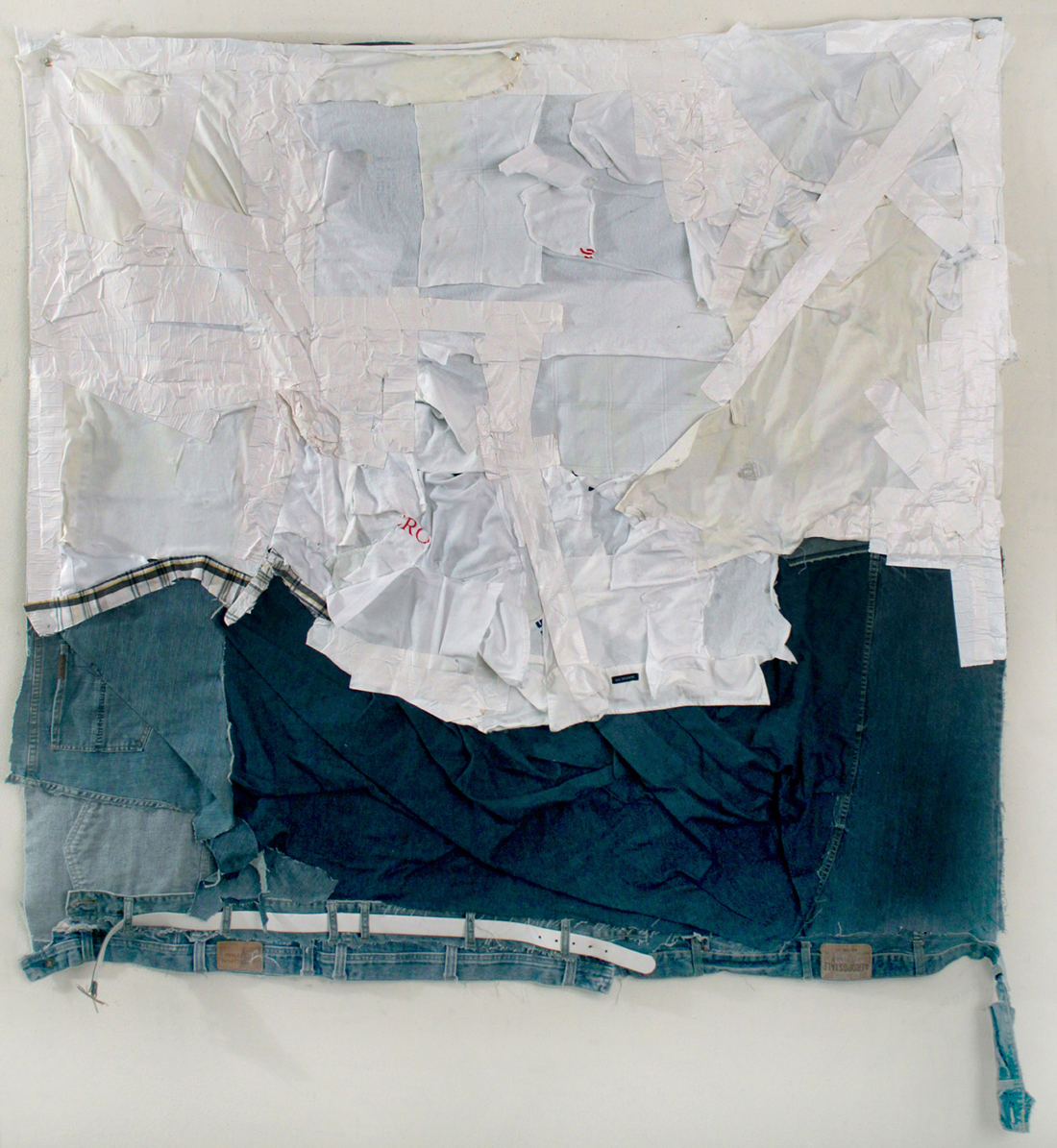 Nathaniel Donnet, No White Tees, 2013, duct tape, clothing, plastic belt, 60 x 63 inches