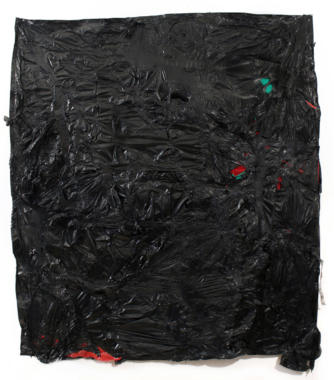 Nathaniel Donnet, Ed Dwight, 2014, plastic, clothing, duct tape, paper, 57 x 64 inches