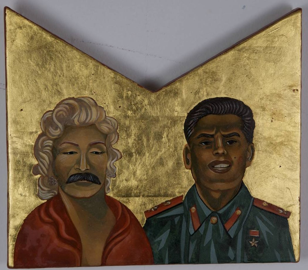 Nestor Topchy, Malin & Starlyn, 2009, egg tempera/gold leaf on wood, approx. 12 x 10 inches