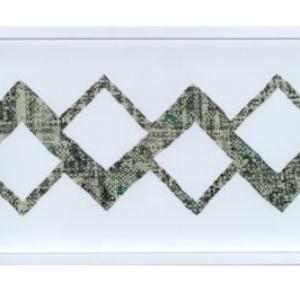 "Oriane Stender, Untitled Woven Dollar Tower #2 [horizontal], 2014 woven dollars 7"" x 20"" framed: 12"" x 25"" x 1.5"""