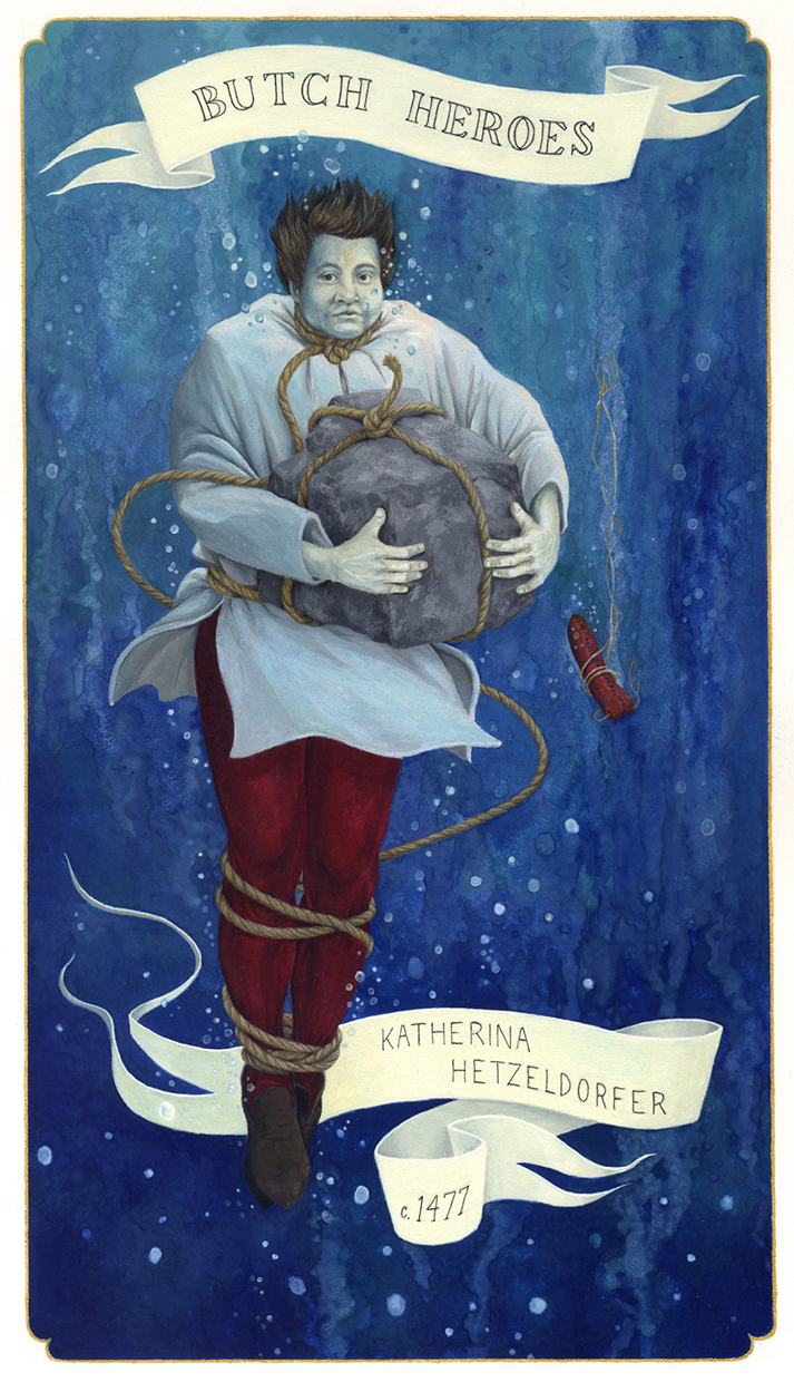 Ria Brodell, Katherina Hetzeldorfer, 2012, Gouache on paper, 11 x 7 inches