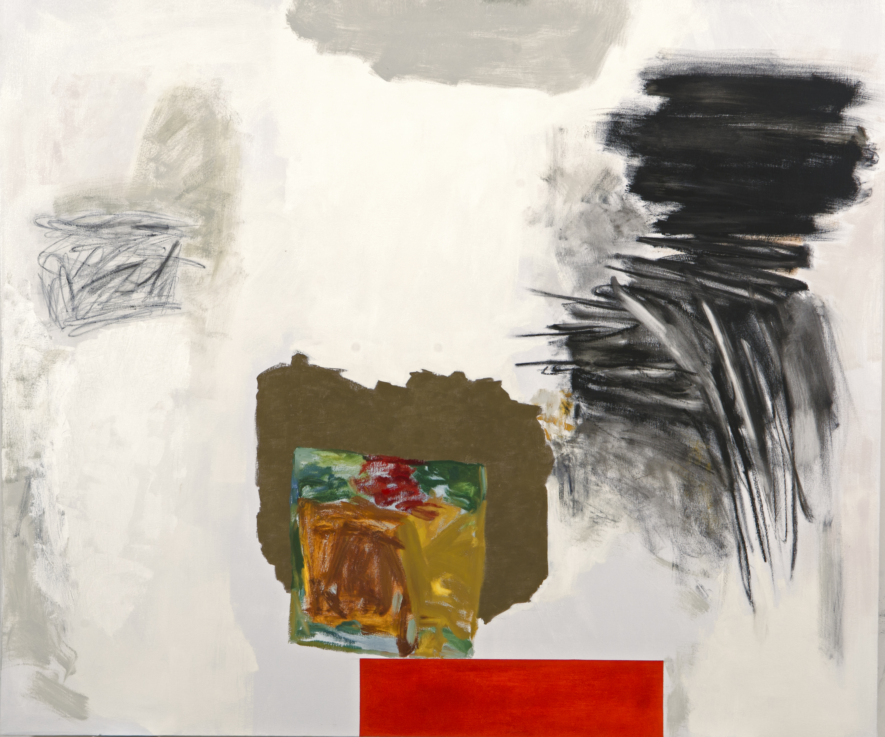 Rocio Rodriguez, Five Events, 2013, oil on canvas, 68 1/2 x 120 1/2 inches