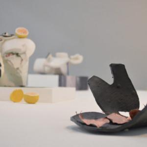 Rebeca Bollinger, Echo exhibition, (installation detail), 2014, glazed ceramic, hydrocal, newspaper, flocking, Flashe, acrylic, photographs, leaves, spray paint, laminate, wood stick, MDF, variable