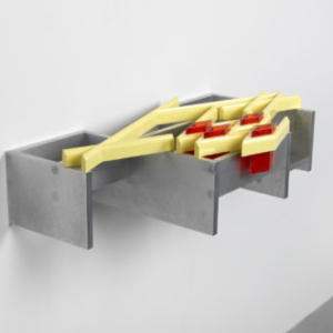 Richard Rezac, Untitled (13-06), painted cherry wood, aluminum and cast polyurethane, 8 1/2 x 30 3/4 x 17 1/2 inches