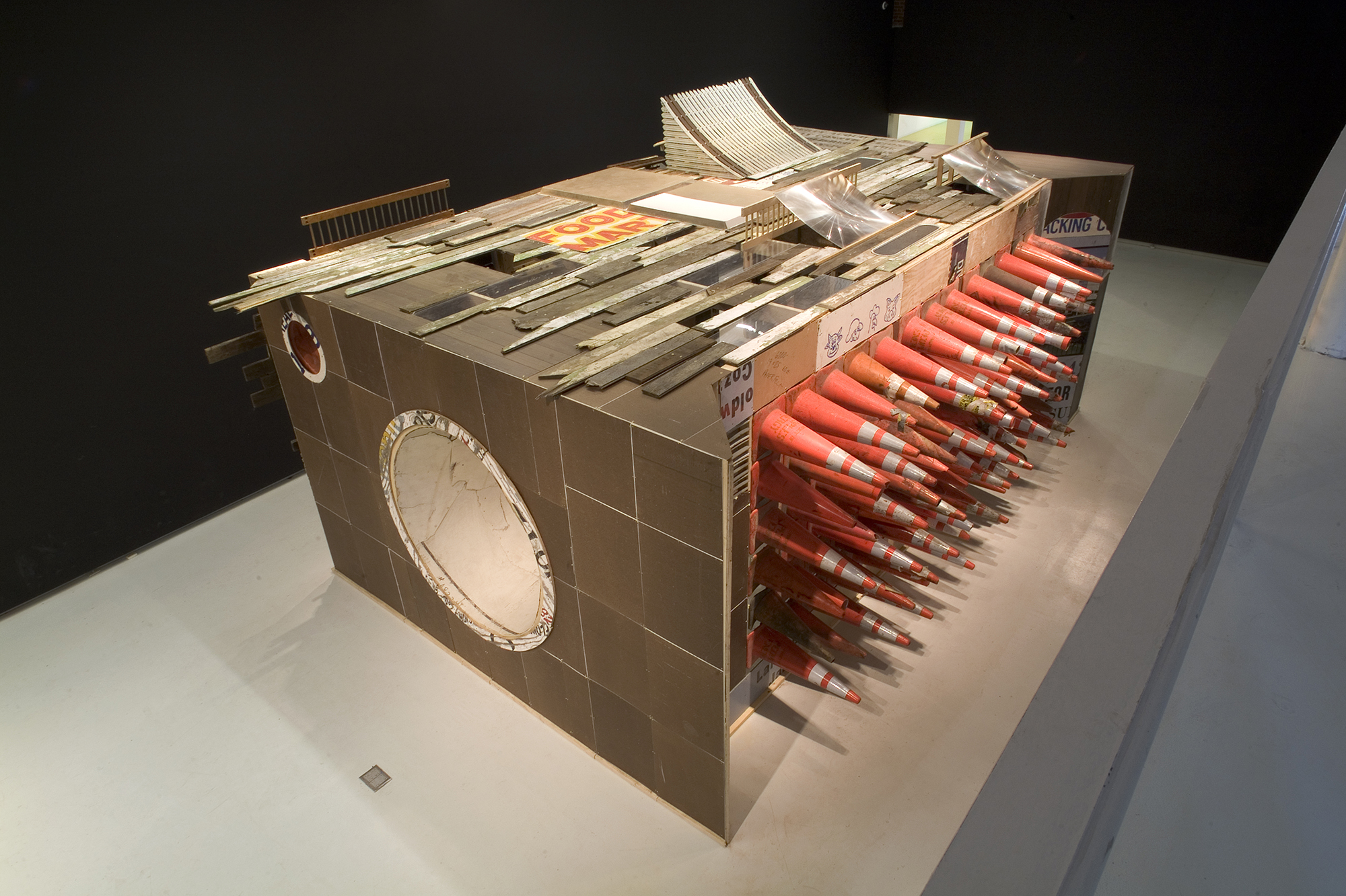 Juan Angel Chavez, Speaker Project, 2007, found materials, 10 x 16 x 25 feet