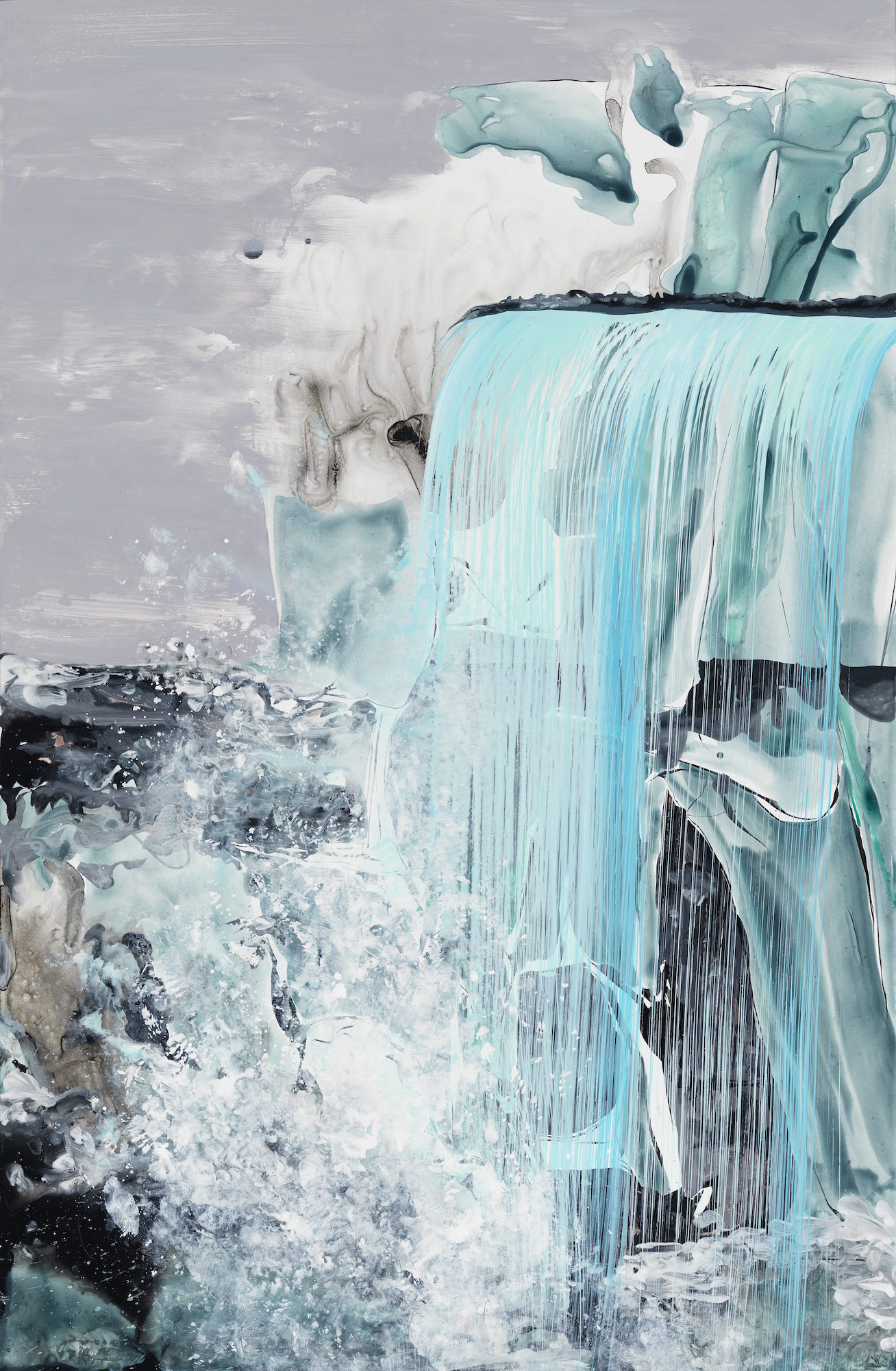 Kim Piotrowski, Still Niagara, 2015 acrylic ink on synthetic paper, 40 x 26 inches