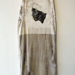 Travis Somerville, Pickin Season, 2014, oil, pencil, and acrylic on vintage cotton picking sack, white cotton glove, 80 x 26 inches