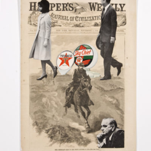 Travis Somerville, The Plot, 2013, paper collage on vintage ephemera (Harper's Weekly cover from November 5, 1864), 15 2/5 × 11 2/5 inches