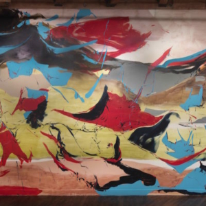 Kim Piotrowski, Tide Tango, 2014, acrylic ink, acrylic and latex paint onsite wall painting 43 x 13 feet