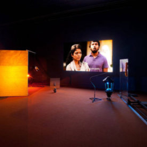 Vishal Jugdeo, Goods Carrier, 2012, mixed-media installation with HD video projection, sound, and sculptural elements with mechanized movement