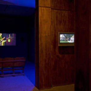 Vishal Jugdeo, Square Configuration (Decorum) Study, 2009, mixed-media installation with high-definition video projection with sound, variable