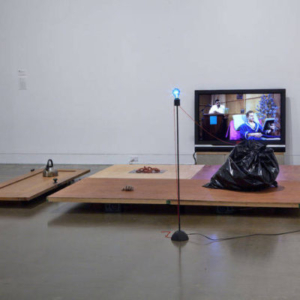Vishal Jugdeo, Thought Composition with Model of the World, 2010, mixed-media sculpture with high-definition video on flat-screen monitor with four-channel sound, variable