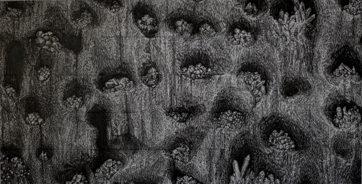 Xiaowei Chen, Diamonds in holes, 2015, ink line on paper, 32 x 16 inches
