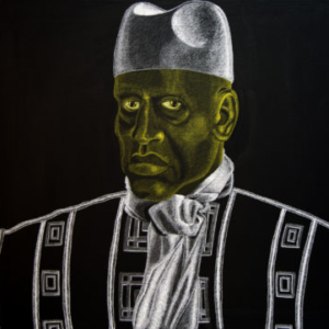 Max King Cap, Yahya Jammeh of The Gambia, Who Has Discovered a Cure for AIDS, 2016, wax pencil on canvas, 36 x 48 inches