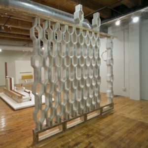 Stephen Reber, Threshold Amnesia (installation view, wall), 2015, concrete, wood, 10 ft x 12 ft x 6 inches