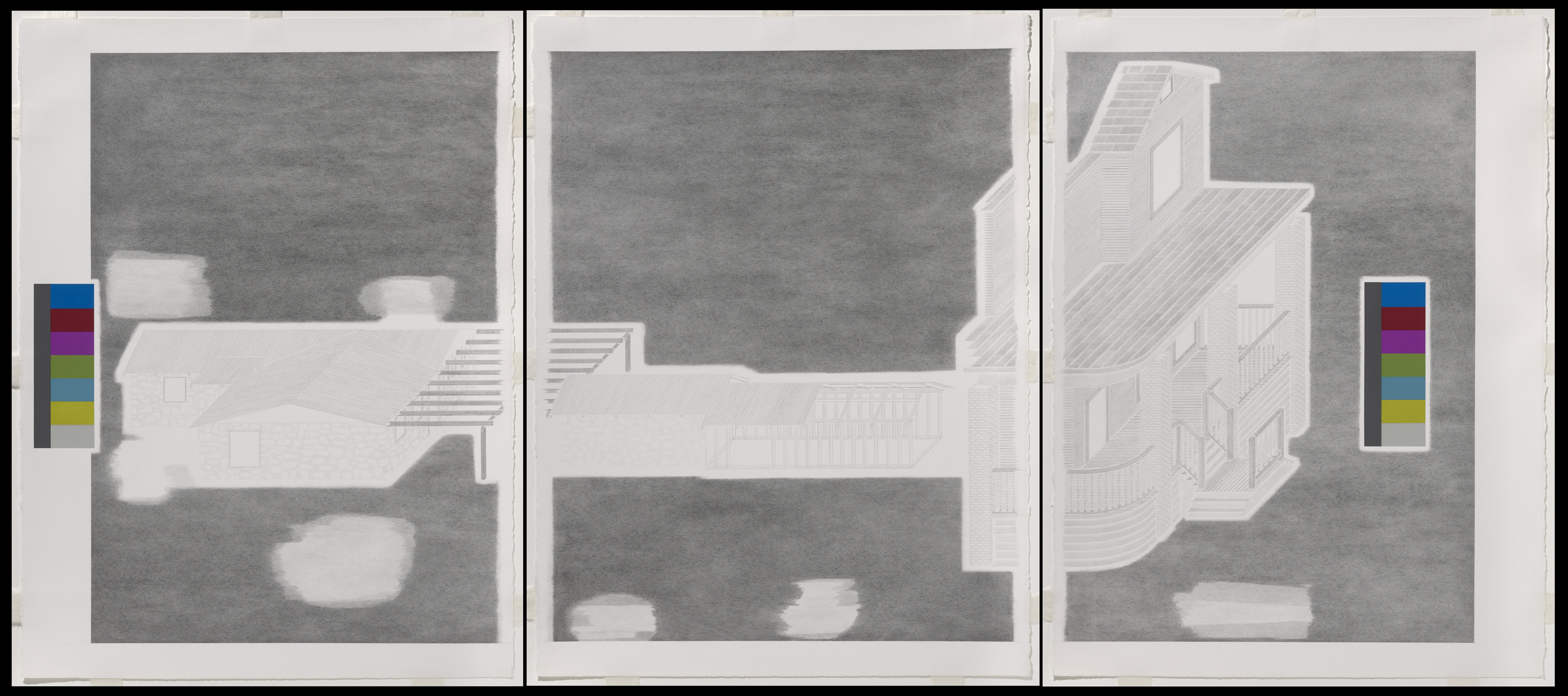 Augusto Di Stefano, plan (for a history), 2011, graphite, gouache and ink on paper, three sheets, each 30 x 22 1/2 inches