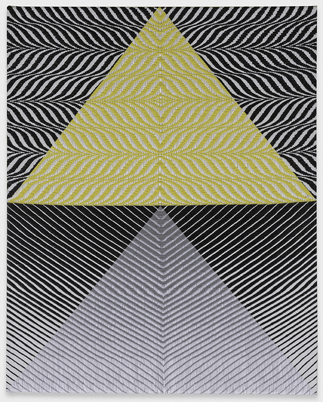 Samantha Bittman, Untitled, 2016, acrylic on hand-woven textile, 30 x 24 inches