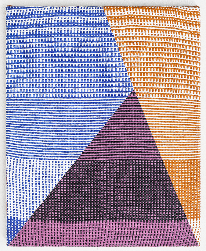Samantha Bittman, Untitled, 2015, acrylic on hand-woven textile, 15 x 12 inches
