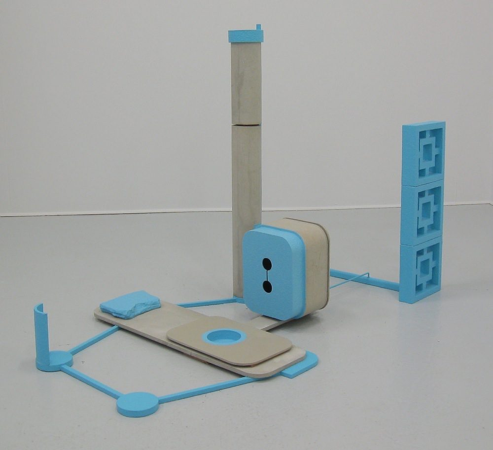 Stephen Reber, Blue and Concrete, 2013, concrete, wood, paint, 72 x 32 x 36 inches