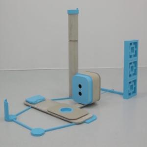 Stephen Reber, Blue and Concrete, 2013, concrete, wood, paint, 72 x 32 x 36 inches