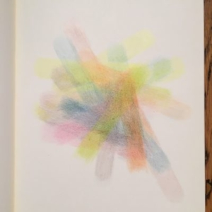 Augusto Di Stefano, interior rainbow (model one), 2014, colored pencil on paper within notebook, 9 7/8 x 7 1/4 inches