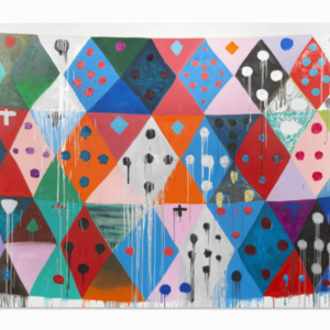 Judy Ledgerwood, Happiness Bleeds, 2015, oil on canvas, 90 x 120 inches