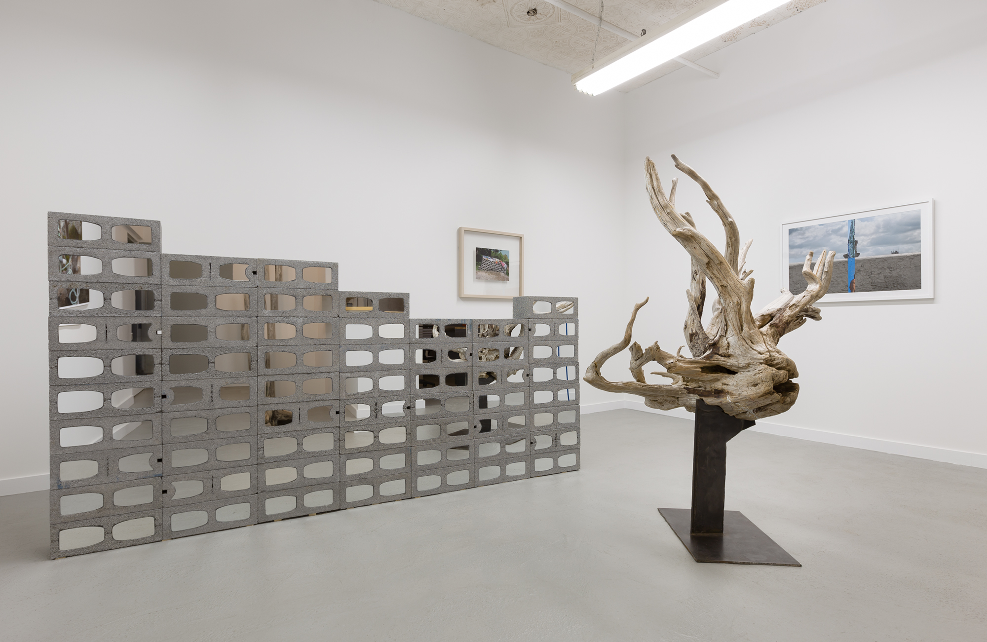 Karyn Olivier, Cinderblock (in foreground--Photo credit Etienne Frossard), concrete blocks and mirrors, 60 h x 108 w x 8 d inches; Trawl, 2015, manipulated driftwood with steel structure, 75 h x 52 w x30 d inches