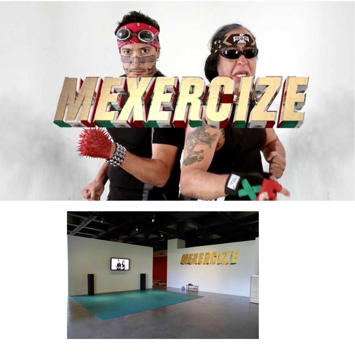 Mariah Garnett, Mexercize, 2013, HD video, 20min, installed at Cypress College gallery, collaboration with Guillermo Gómez-Peña