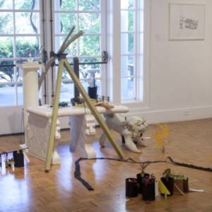 Weston Teruya, Menagerie in Phelan's Garden, 2015, spraypaint and drawing media on paper sculpture, 72 x 58 x 84 inches