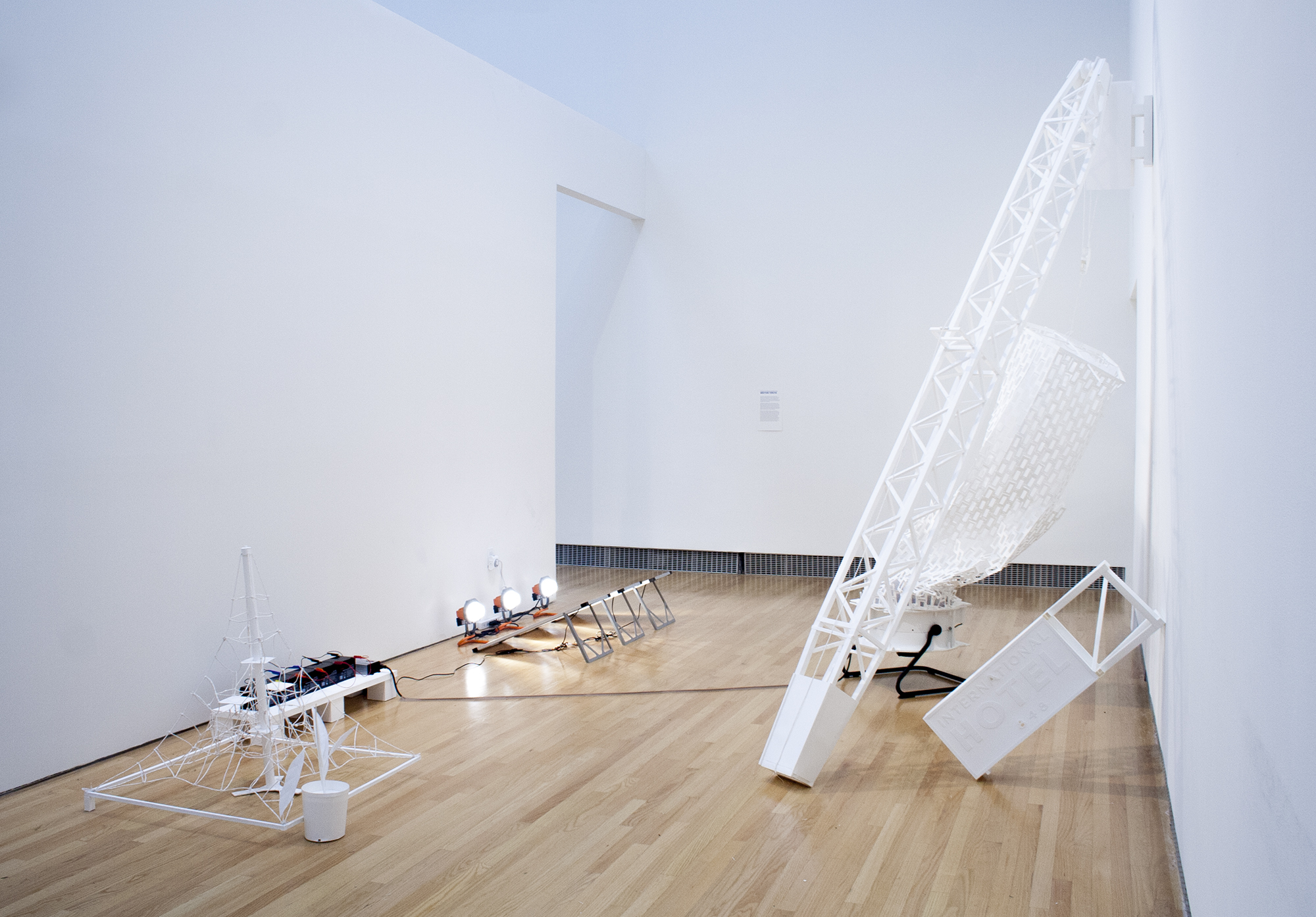 Weston Teruya, My DEIR, here we must run as fast as we can, just to stay in place, 2015, solar panels, fan, lights, batteries, electronics, and paper sculpture, 156 x 108 x 120 inches