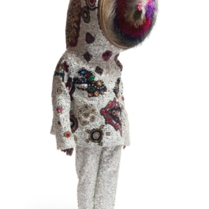 Nick Cave, Soundsuit, 2015, mixed media including sifter, wire, bugle beads, buttons, upholstery, and mannequin, 81 1/2 x 23 1/2 x 27 1/2 inches. Photo by James Prinz Photography. Courtesy of the artist and Jack Shainman Gallery, New York