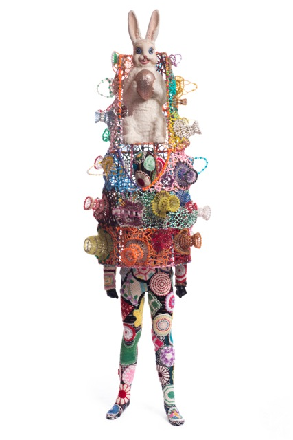 Nick Cave, Soundsuit, 2010, mixed media including vintage bunny, safety pin craft baskets, hot pads, fabric, metal, and mannequin, 111 x 36 x 36 inches. Photo by James Prinz Photography. Courtesy of the artist and Jack Shainman Gallery, New York